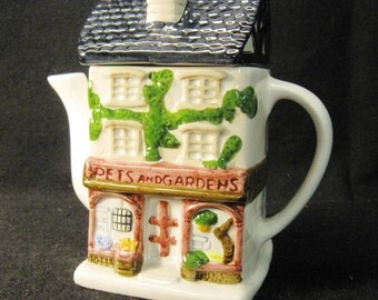 Vintage Whimsical Porcelain Pets and Gardens Teapot