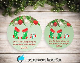 Personalized First Christmas as Grandma and Grandpa Ornament, Customized Christmas Ornament, Stocking Suffers, Great Gift!