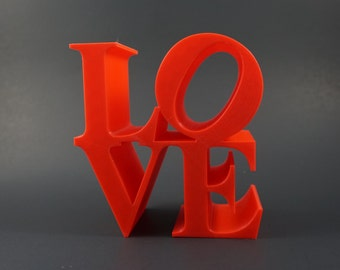 "Miniature Love Statue, ""Love"" Sculpture, Robert Indiana, Love Icon, Pop Art, Love Figurine, Love Image, 3D Printed Love, Philadelphia Love"