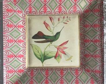 Vintage hummingbird print decoupaged on glass