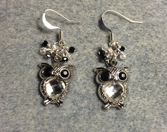 Black and silver rhinestone owl charm earrings adorned with tiny dangling black and clear Chinese crystal beads.