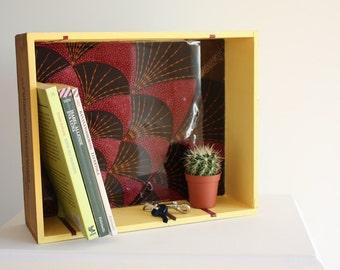 "Wood shelf ""Africa and Barolo"" - wine wood box and african fabric"