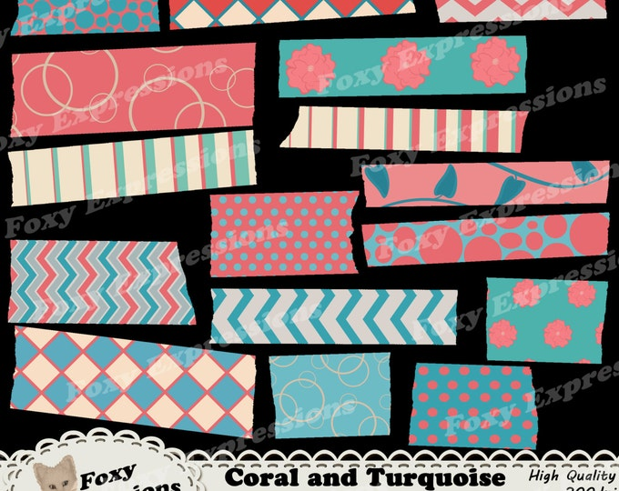 Coral and Turquoise Digital Washi Tape comes in checkers, floral, chevron, stripes, vines, polka dots and bubbles for personal or commercial