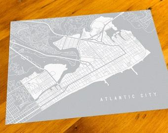 Atlantic City, NJ - Map Art Print  - Your Choice of Size & Color!