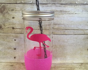 Pink Flamingo Glitter Mason Jar Tumbler 24 oz - Ready To Ship