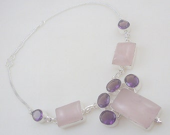 Rose Quartz-Amethyst Stone .925 Silver handmade Necklace Jewelery (Jh-82)