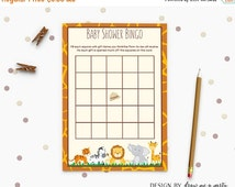 ON SALE Jungle Safari Baby Shower Bingo , Safari Bingo Cards , Wild Animals Baby Bingo Game , Baby Shower Activity , Printable, Instant Down