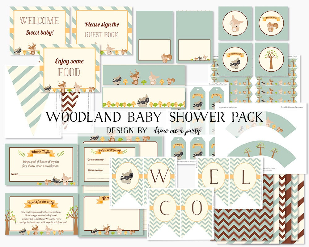 woodland baby shower decorations forest baby by drawmeaparty