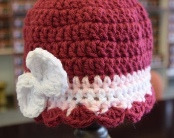Baby Girl Hat with Bow, Photo Prop.