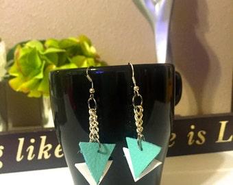 Geometric Earrings~ handmade~foam&leather~ByGabriela's Expressions~jewelry