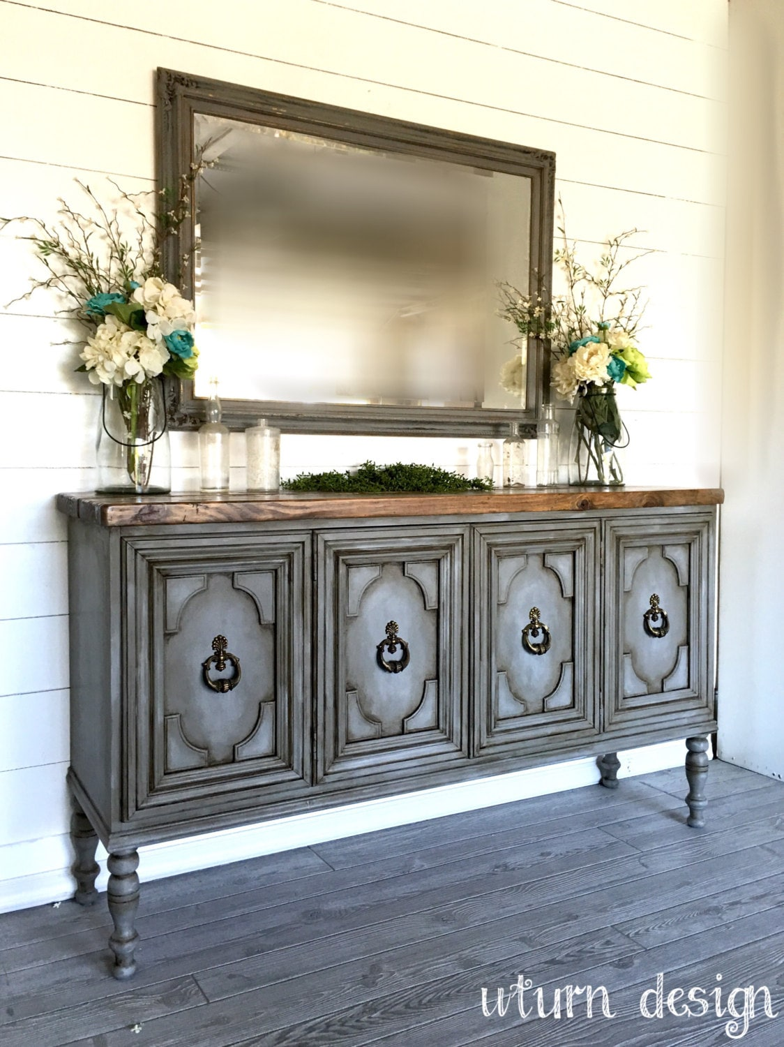 Sold Painted Grey Buffet Entryway Table By Uturndesign