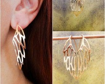 Sterling Silver Angel Wings Earrings, Silver Wings Earrings, Delicate Angel Wings, Angel Wing Dangle Earrings, Valentine Gift