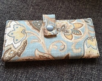 Handmade Wallet, Blue and Brown Floral