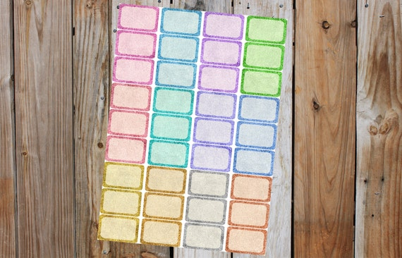 Glitter Half Boxes Planner Stickers, Glitter Sparkle Half Boxes (36 Half Boxes) for use with ERIN CONDREN LifePlanner