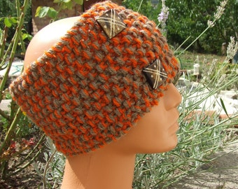 Knitted Headband - Knitted Hairband -  Knitted Ear Warmer - Chunky headband with buttons - Ladies hand knitted orange and brown headband