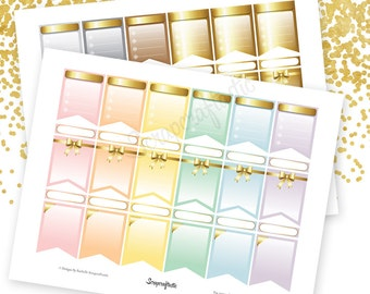 Pastel and Gold All Pro Banner Printable Planner Stickers for Erin Condren (EC) Life Planner