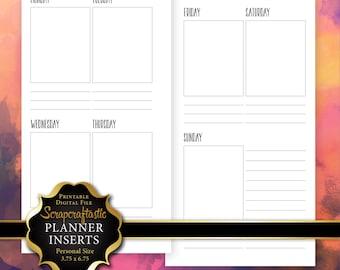 Planner Printable Insert Refill Undated WO2P Personal Size - Filofax Kikki K ColorCrush Erin Condren Size Full Boxes & Note Lines