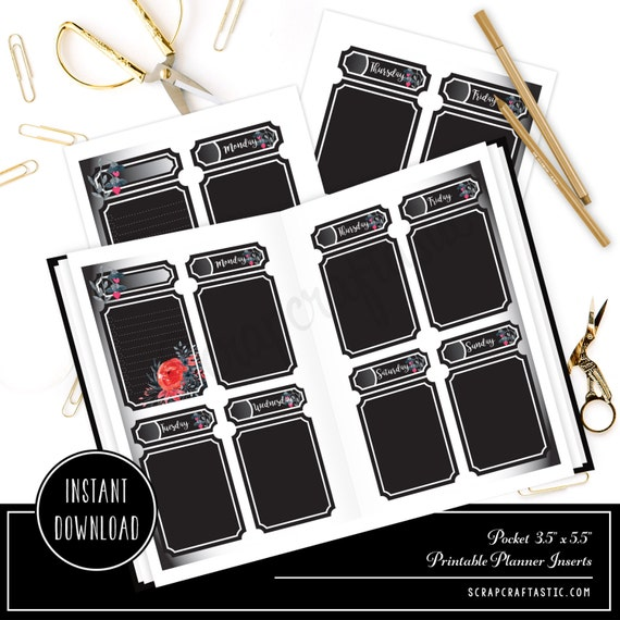 Blackout Undated Week on Two Page (WO2P)  POCKET SIZE Designed Printable Travelers Notebook and Planner Inserts/Refills