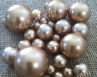Champagne Loose Pearl Beads Balls (3-4-5-6-7-8-10-14-18-24-30mm) For Jewelry Repairs, Trinkets, Crafts/DIY Projects, Decorations