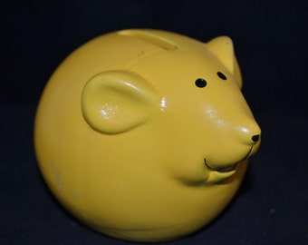 """Bright yellow ceramic Mouse Bank, 4.5"""" x 3.5"""" Perfect size for that spare change."""