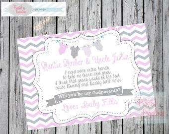 Baby Girl Godparent Card, Godparent Request, Baptism Card