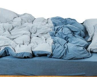 Jersey duvet cover Set Denim Blue Ticking Stripe Duvet Cover  Queen College Bedding