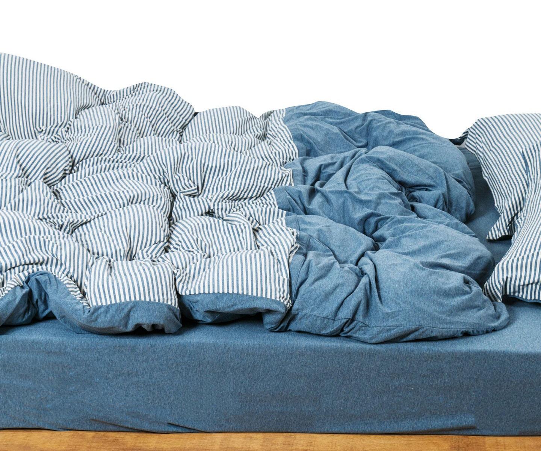 Jersey Duvet Cover Set Denim Blue Ticking Stripe Duvet Cover