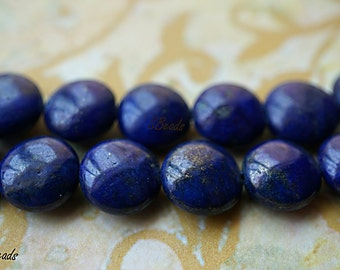 Blue Lapis Beads, Coin Beads, Beads