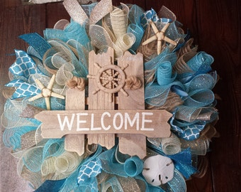 Beach Wreath, Summer Wreath, Welcome Wreath, Nautical Wreath, Seashells, Welcome Wreath, Welcome Ship Wheel Wreath