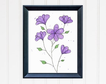 Purple Daisy Art Print. Whimsical Flower Wall Art. Watercolor Art. Daisy Print. Mother's Day. Nursery Wall Art. Gift for Mom. Gift for Her.