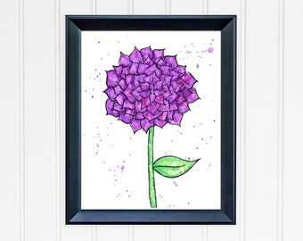 Purple Dahlia Art Print. Dahlia Wall Art. Watercolor Flower. 8x10 Print. Mother's Day Gift. Nursery Wall Art. Gift for Mom. Gift for Her.