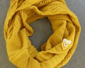 SALE,  Winter Knitted Infinity Scarf, Knit Winter Scarf,Scarf, Knitted Scarf, Women's Accessorries, Vintage Inspired, Mustard