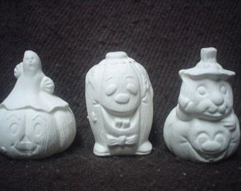 "3 Ceramic Bisque 2"" Scary Jack-O-Lanterns Pumpkins - Ready to Paint-E245"