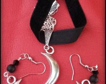 Gothic half moon choker+earrings set