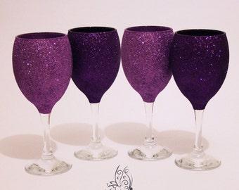 Glitter Top Wine Glasses Set of 4 Purple & Cadbury Purple