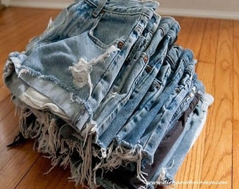 High Waisted Shorts:Denim Hipster Made To Order Distressed Grunge Shorts