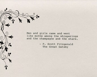 F. Scott Fitzgerald Quote Made on Typewriter The Great Gatsby Art Quote Wall Art -Men and girls came and went like moths among the ...