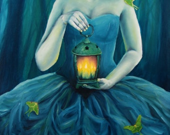 Blue Girl with Lantern and Luna Moths Original Oil Painting