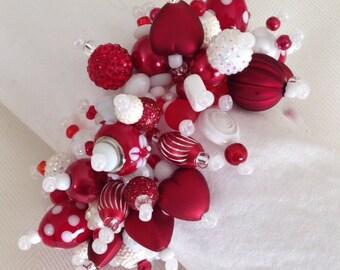 Red Hearts*  beaded fringe bracelet.