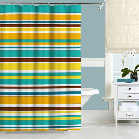Colorful Shower Curtain Turquoise Orange Shower Curtain