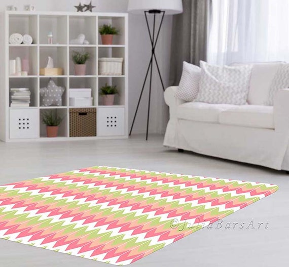 Pink And Mint Nursery Rug Pink Rug Coral Rug Baby Room