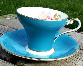 Gorgeous Turquoise Corset Aynsley Teacup and Saucer