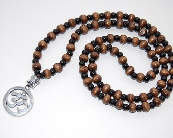Om Necklace,Buddhist Necklace,Wood necklace,Wood 8mm Beads,Spirituality,30 inches,Mala,Prayer,Men,Woman,Yoga Necklace,Protection,Meditation