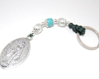 Rosary Keychain, St.Mary keychain, Turquoise, Faux Pearl Beads, Catholic gift, Communion, Confirmation, Birthday, Graduation, Heartfelt