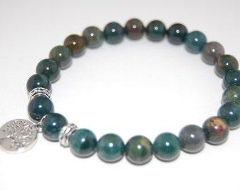 Tree of Life Bracelet,Green Agate Gemstone 8mm Beads,Elastic Fit All,Gemstone Stretch Bracelet,Men,Women,Pray,Wish Bracelet,Good Luck