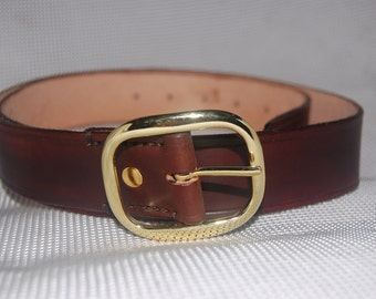 leather belt, handmade, 100% real leather dark brown