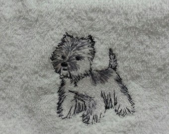 Embroidered Westie Hand Towel