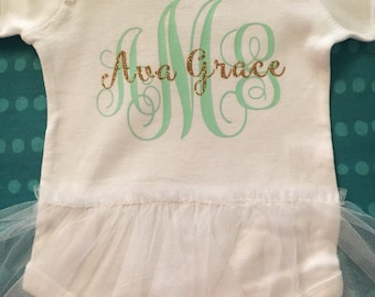 Custom baby girl onesie with tutu