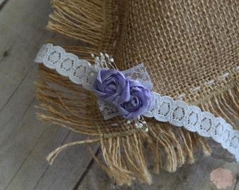 Newborn Headband, Newborn Purple & Grey Lace Headband, Newborn Photography Headband, Ready to Ship, Petite Newborn Headband