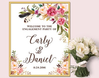 Welcome to the Engagement Party Sign, Floral Welcome Sign, Printable File Only